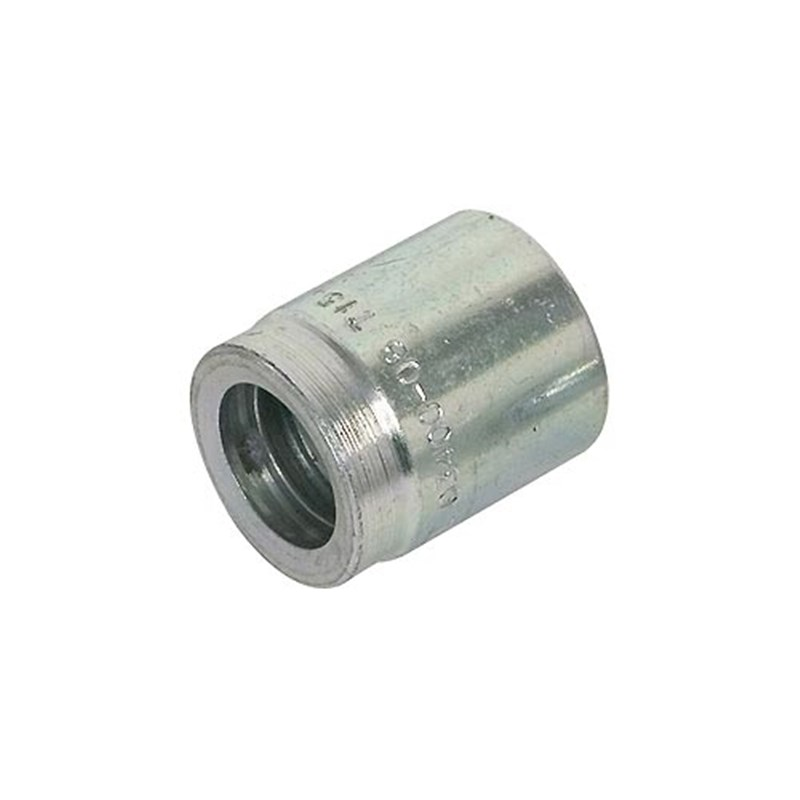 Quot bore hose end ferrule crimp on fitting