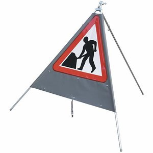 750mm Portable Road Works Sign (with plate provis...